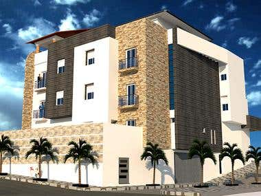 3D of villa designed by classic style