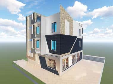3D of a moderne villa