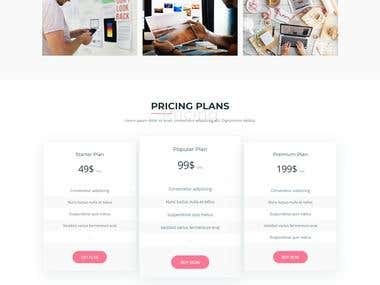 One page template design