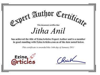 Expert author at ezinearticles