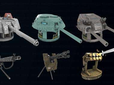Game related Weapon icons.