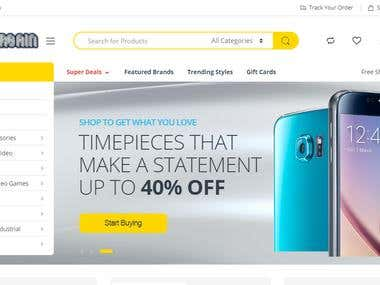 Front page of an online store (hosted via woo-commerce)