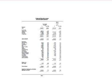 Profit and Loss Statement and Balance Sheet