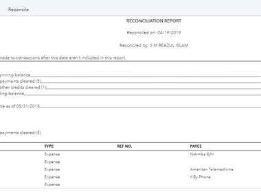 Bank Statement reconciliation