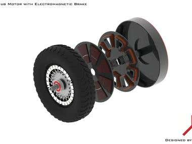 Electric Motor with electromagnetic friction Brake
