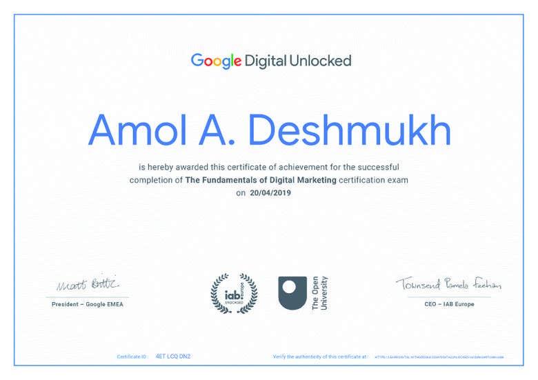 I am Google Certified Social media (Digital media) marketer