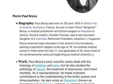 Article about Pierre Paul Broca