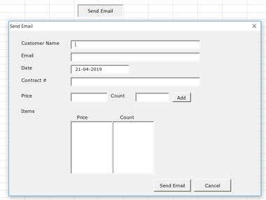Excel based price quote email sender