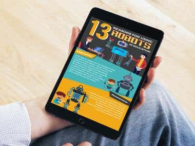 """Infographics on """"13 Reasons for using Robots in Education"""""""