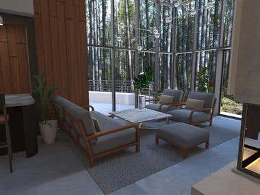 The Private House Design - Living room