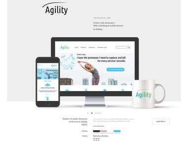 Design mock-up of the Agility website