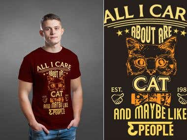2 Similar cat T shirt Design