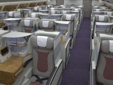 Boeing B777 business class cabin