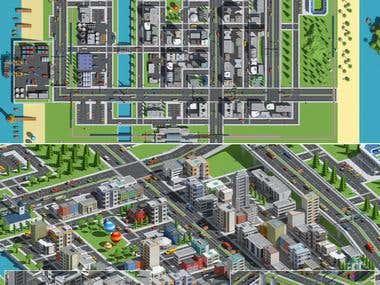 Environment on cartoon city