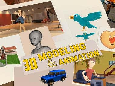 3d modeling of characters, cars, buildings etc