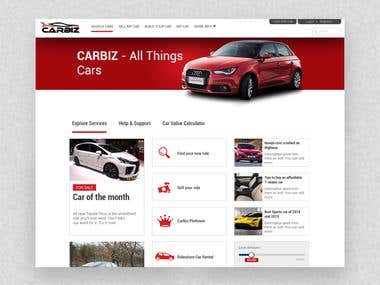 Website mockup design for CarBiz