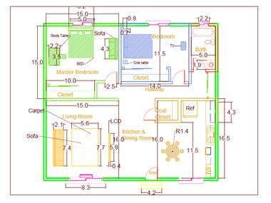 Developing 2D interior design of house.