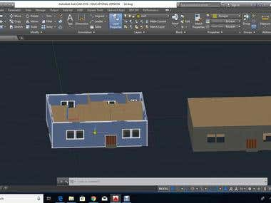 3D House using AUTO CAD linear graphics