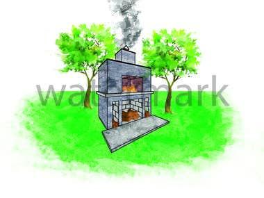 Fire Oven (Water Colour Design)