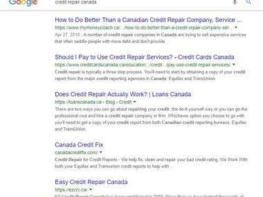 SEO Project - Credit Repair