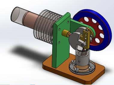 """Design of """"Stirling Engine"""" in SOLIDWORKS"""