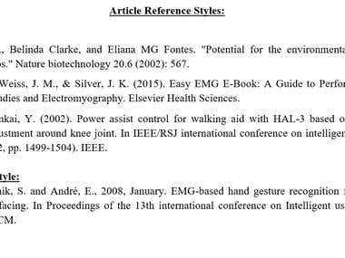 Article Reference Styles