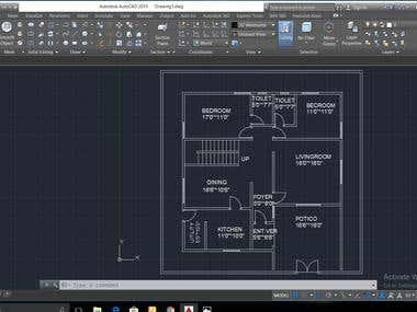 2D plan of 50 * 50 sq.ft
