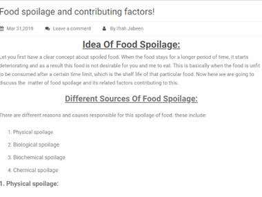Article written on food spoilage and its types.