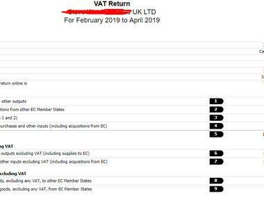 VAT return Submit to HMRC