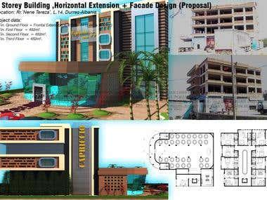 4 Storey Building , Horizontal Extension + Facade Design