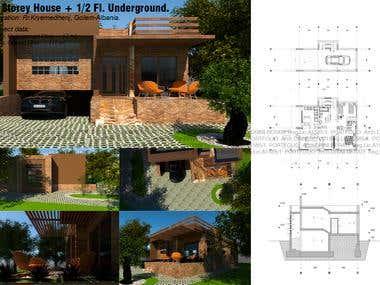 1 Storey House + 1/2 Fl. Underground