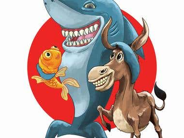 Shark, Donkey & Fish