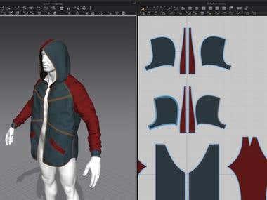 Jacket + hoodie (Marvelous design)