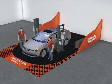 3D Render for VW Service Bay Mockup
