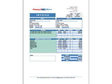 Invoice for a UK