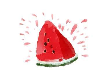 Watercolour slice of watermelon