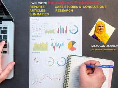 I will write innovative articles, summaries, reports for you