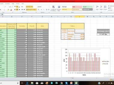Excel document - shop