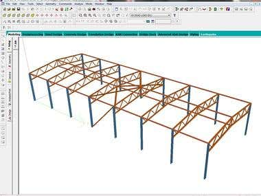 3D STAAD Model of Industrial Shed Building