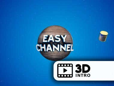 3D intro for young channel on youtube ''EASY CHANNEL''