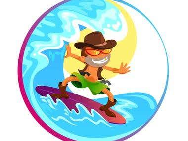 Surfing cowboy