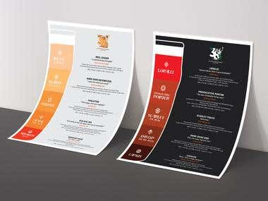 BEER MENU for commercial use - Click for more