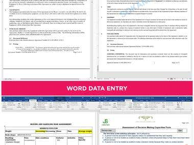 WORD DATA ENTRY PORTFOLIO