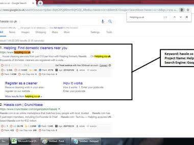 Top 1 Ranking in Google.co.uk