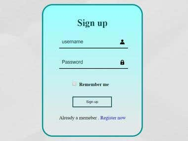 Log-in and sign-up forms