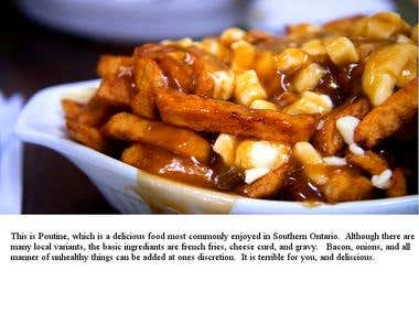 Text added to a stock image of poutine.