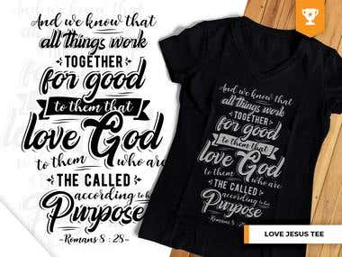 Christ Calligraphy/Typography T-Shirts