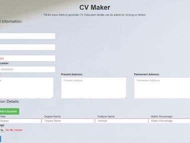 Custom CV Maker with live inputs