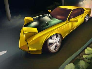 -Car Riding On High Speed Illustration