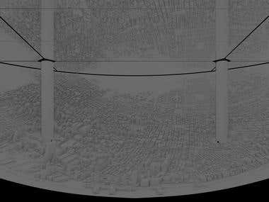 Projection mapping, 3d printed visualization of Manhattan